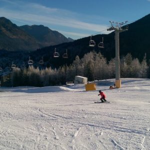 skier on a slope in Kranjska Gora